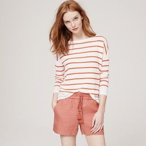 Loft Striped Shoreline Sweater in Caliente Orange